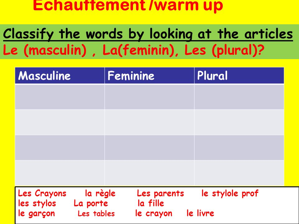 Echauffement /warm up Classify the words by looking at the articles Le (masculin) , La(feminin), Les (plural)