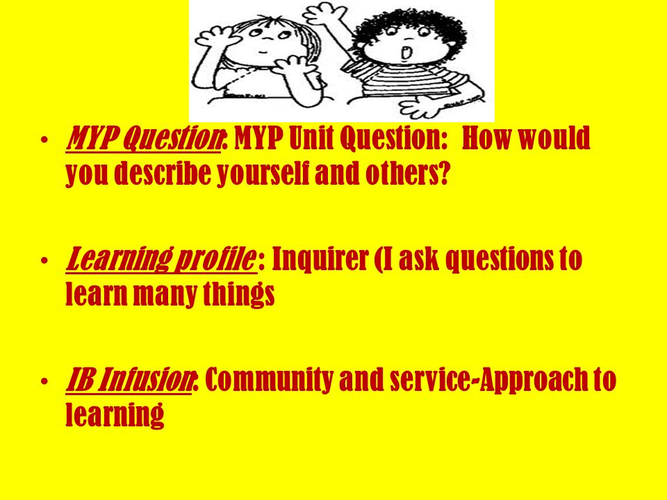 MYP Question: MYP Unit Question: How would you describe yourself and others
