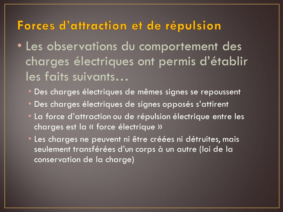 Forces d'attraction et de répulsion