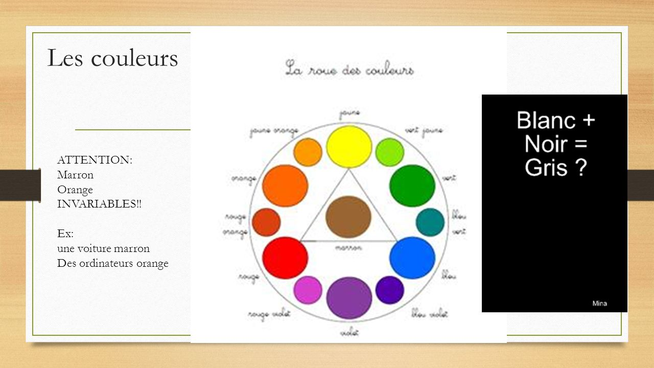 Les couleurs ATTENTION: Marron Orange INVARIABLES!! Ex: