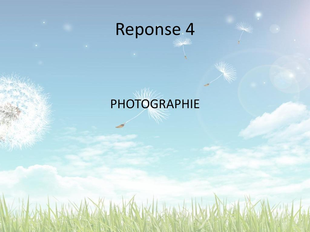 Reponse 4 PHOTOGRAPHIE