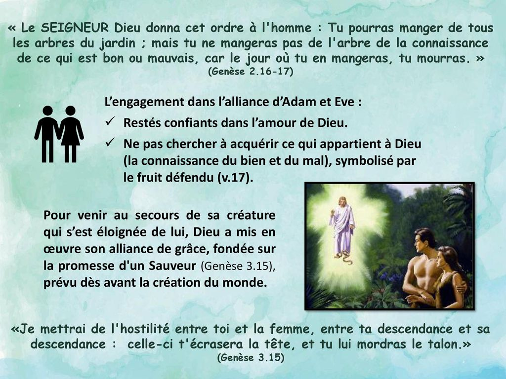 L'engagement dans l'alliance d'Adam et Eve :