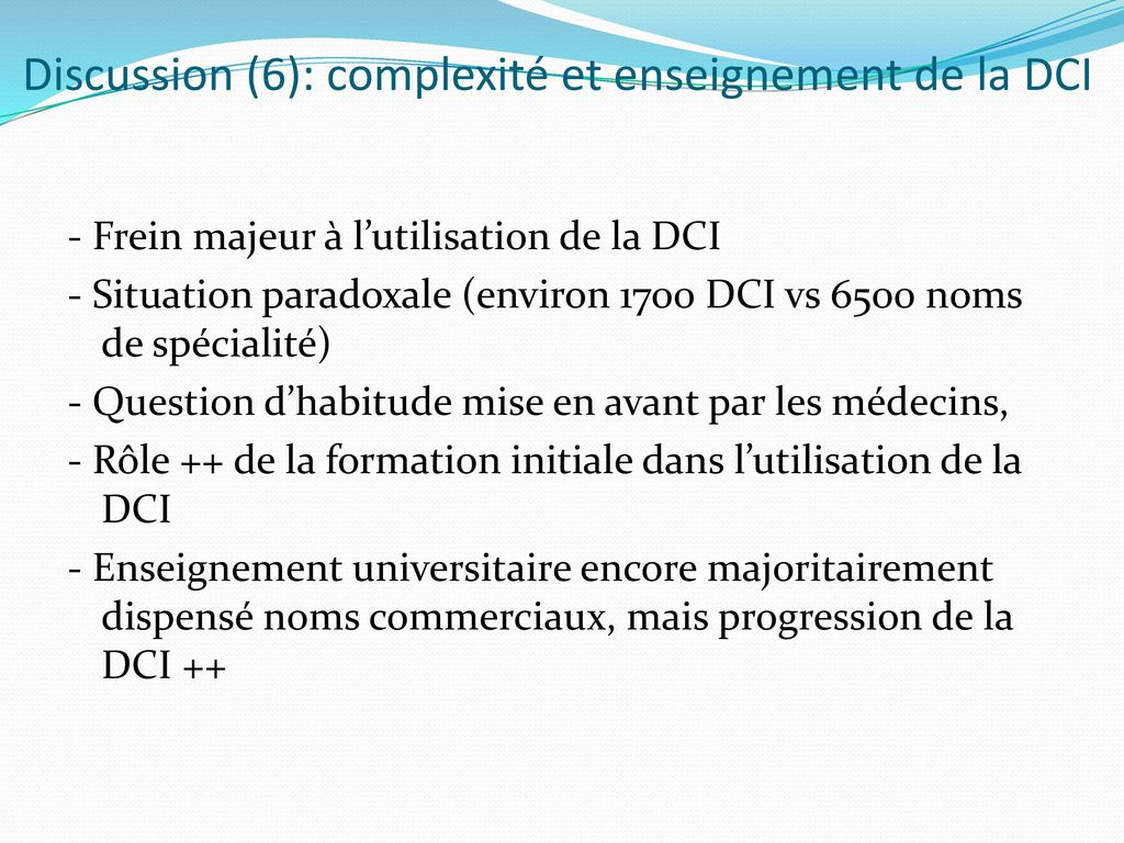 Discussion (6): complexité et enseignement de la DCI