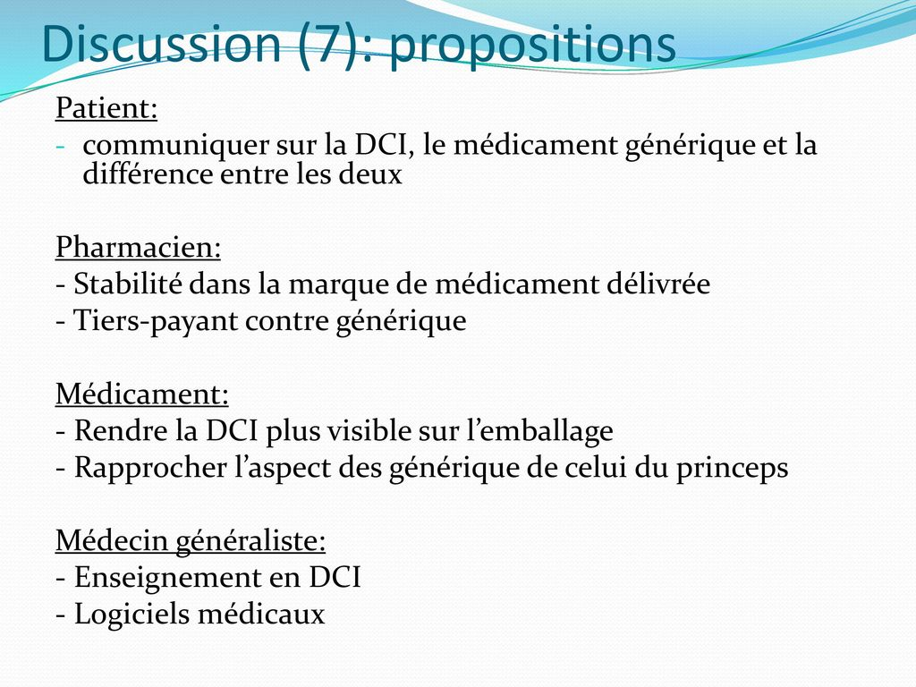 Discussion (7): propositions