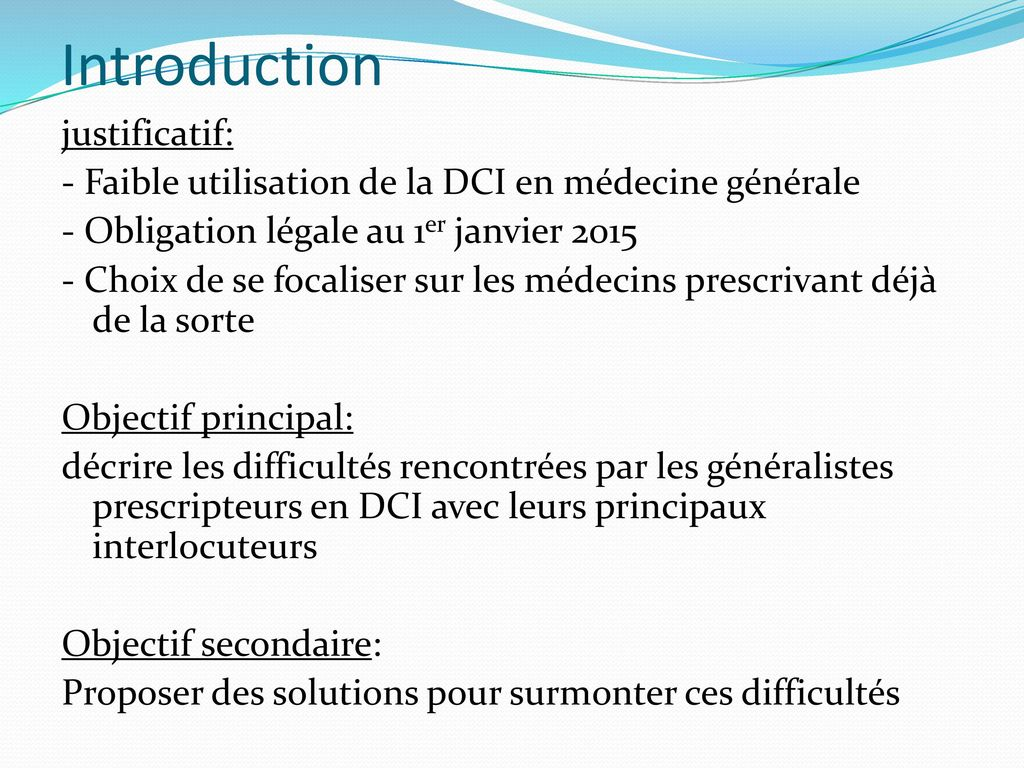 Introduction justificatif: