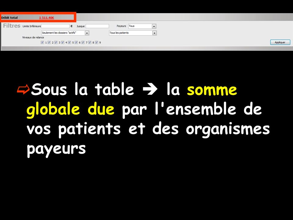Sous la table  la somme globale due par l ensemble de vos patients et des organismes payeurs