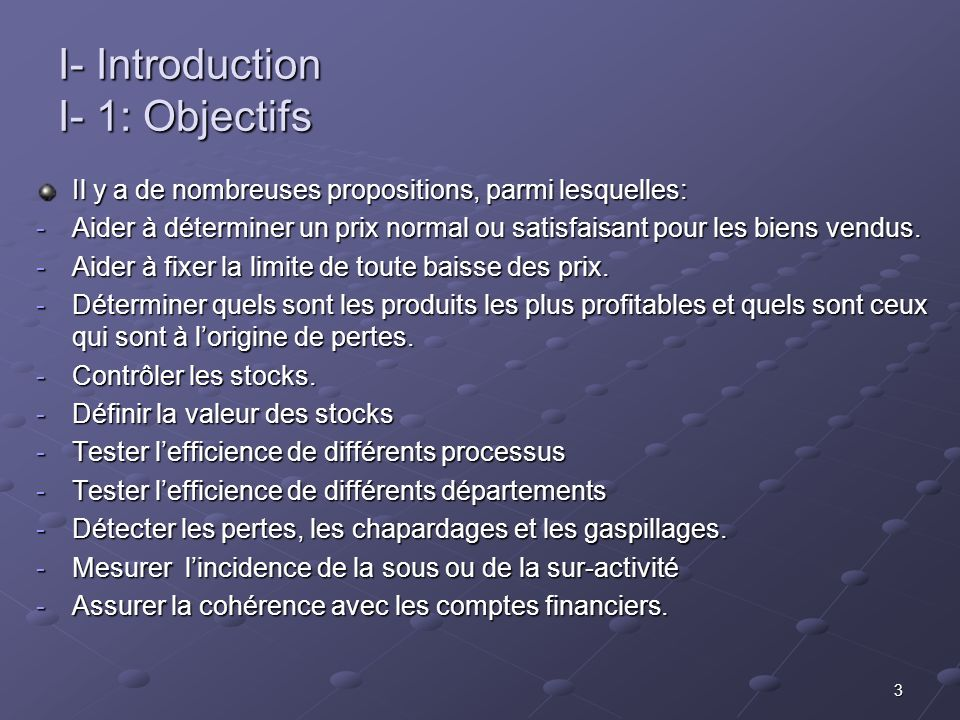 I- Introduction I- 1: Objectifs