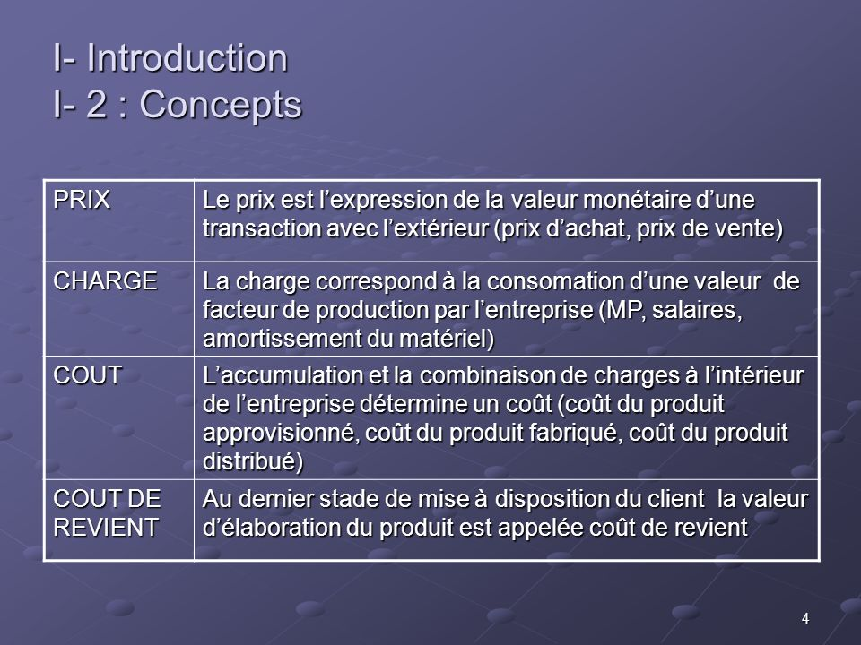 I- Introduction I- 2 : Concepts