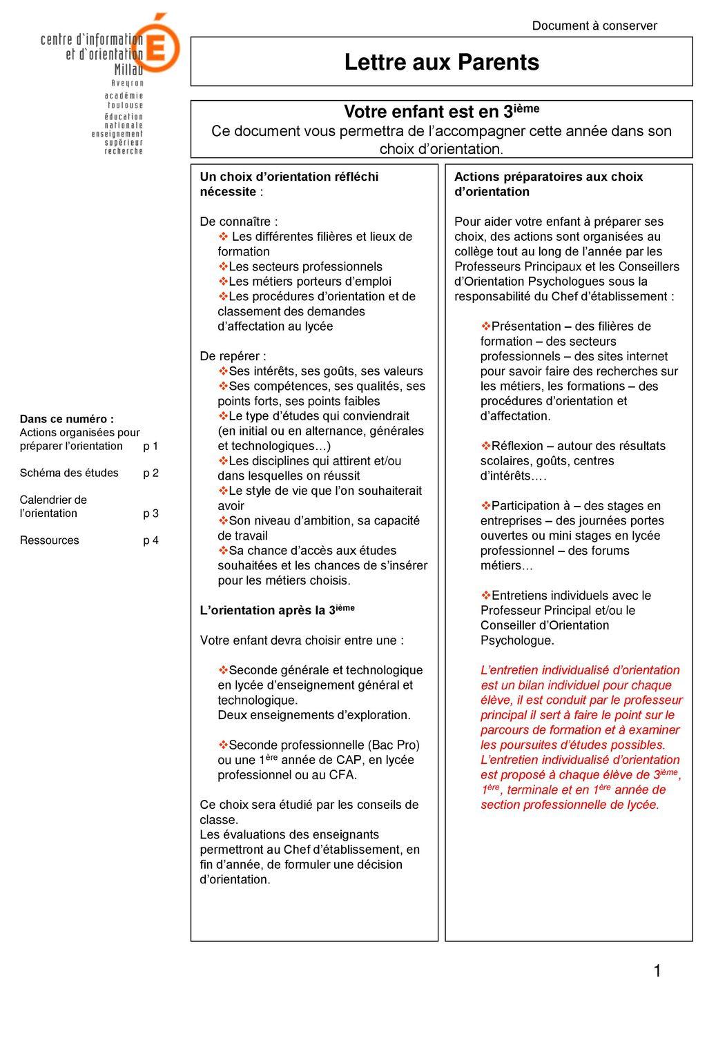 dd84d653e8499 Lettre aux Parents Dans ce numéro   - ppt télécharger