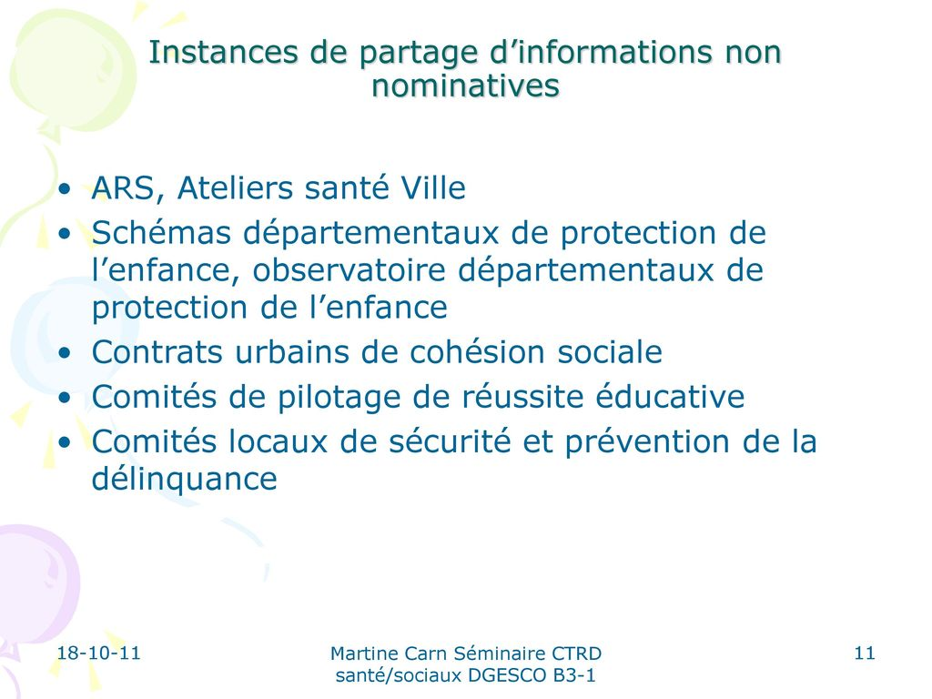 Instances de partage d'informations non nominatives