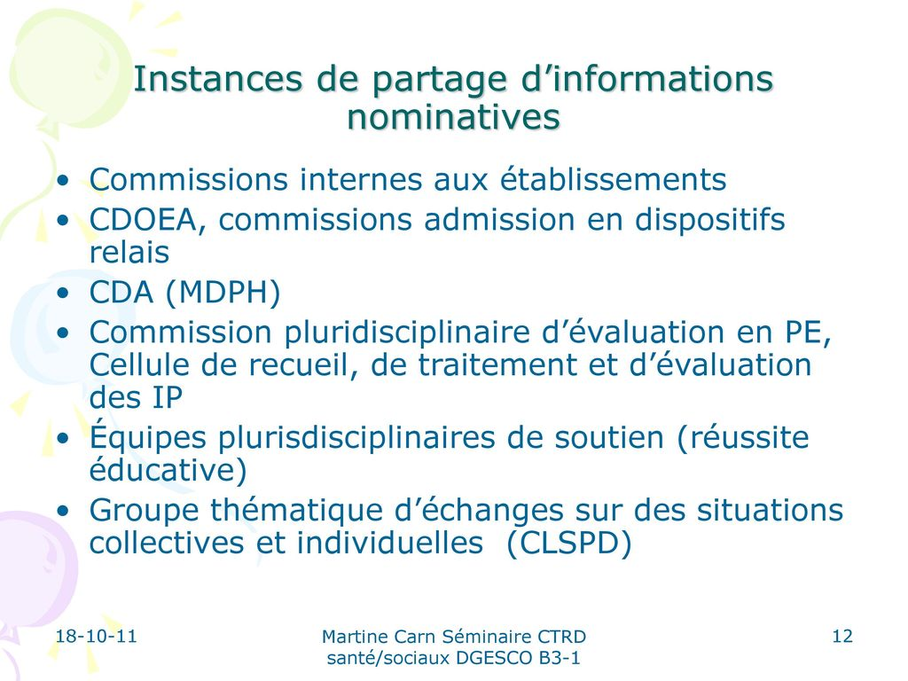 Instances de partage d'informations nominatives