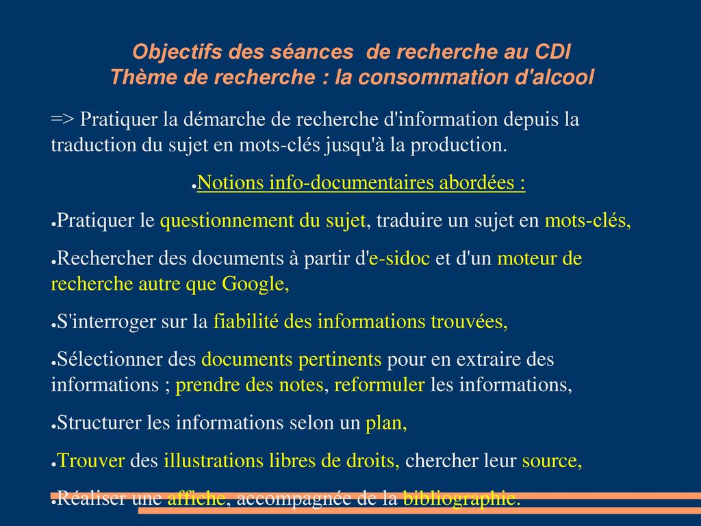 Notions info-documentaires abordées :