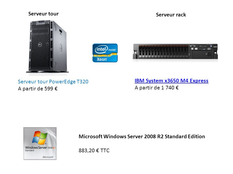Serveur tour Serveur rack. Serveur tour PowerEdge T320. A partir de 599 € IBM System x3650 M4 Express.