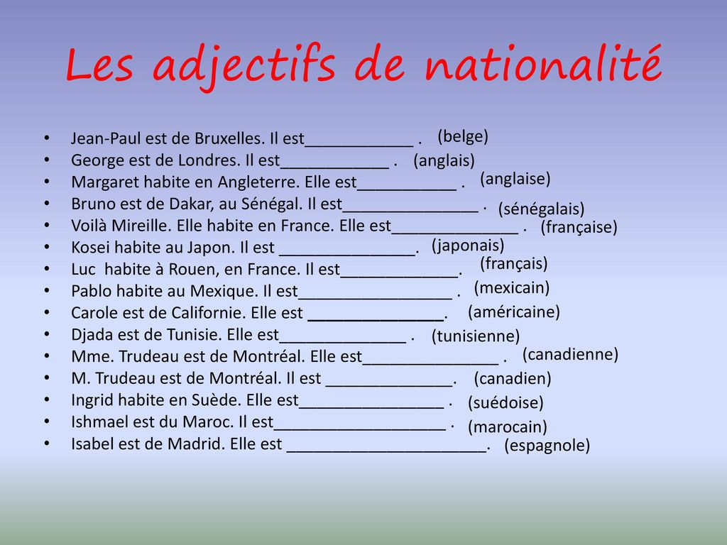 les adjectifs de nationalit u00e9