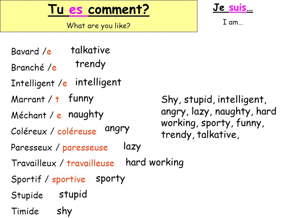 Tu es comment Je suis… talkative trendy intelligent funny