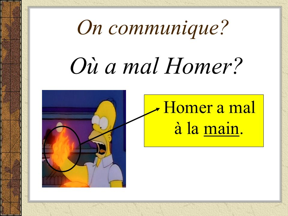 On communique Où a mal Homer Homer a mal à la main.