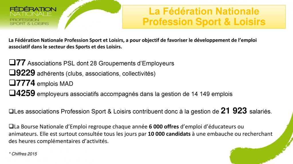 La Fédération Nationale Profession Sport & Loisirs