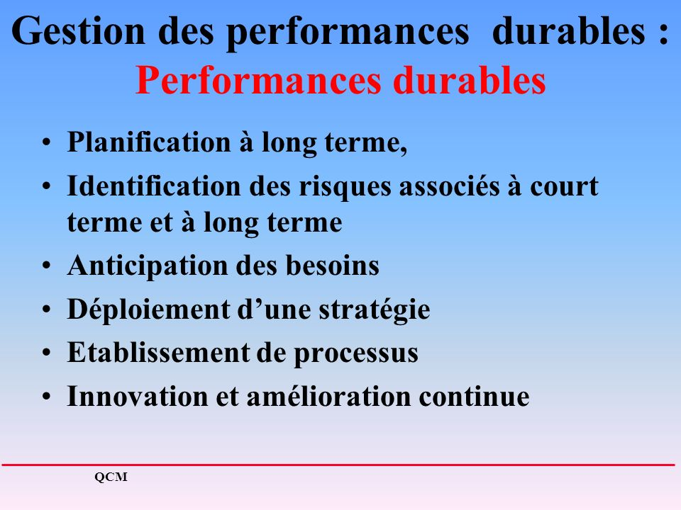 Gestion des performances durables : Performances durables