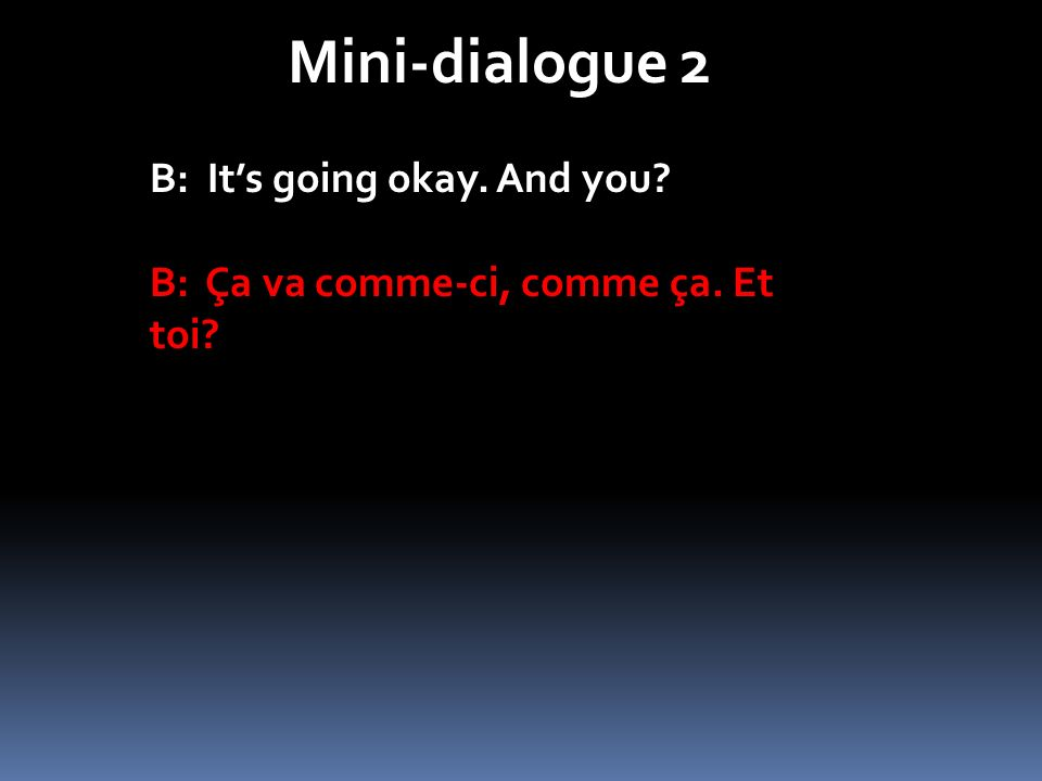 Mini-dialogue 2 B: It's going okay. And you