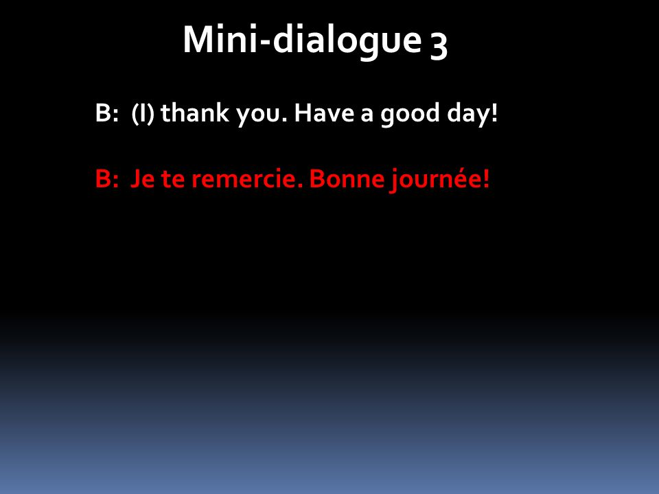 Mini-dialogue 3 B: (I) thank you. Have a good day!