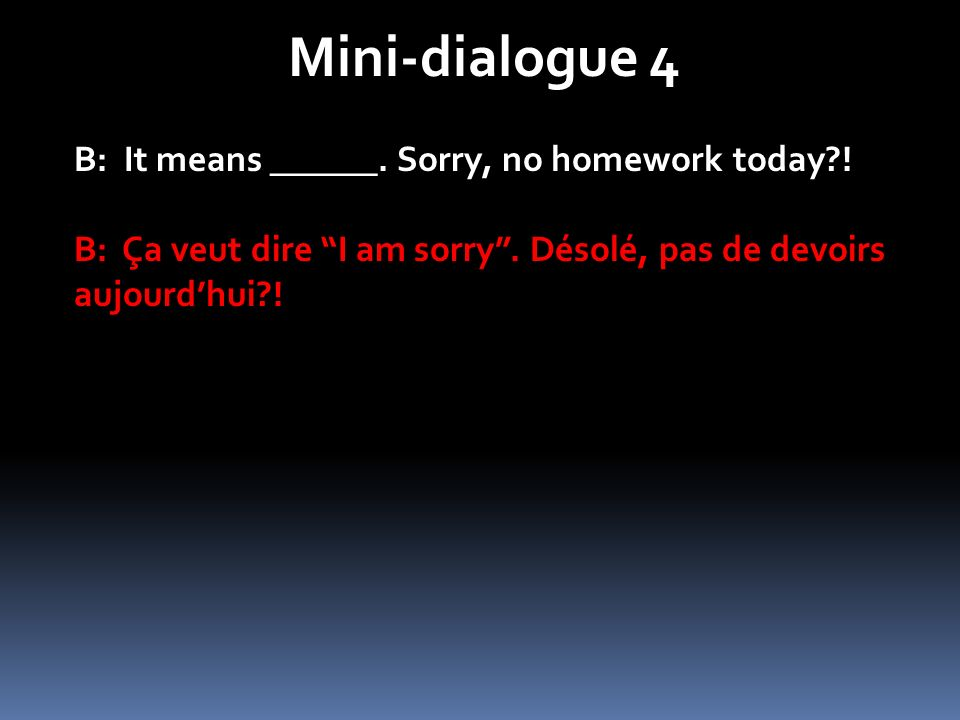 Mini-dialogue 4 B: It means ______. Sorry, no homework today !