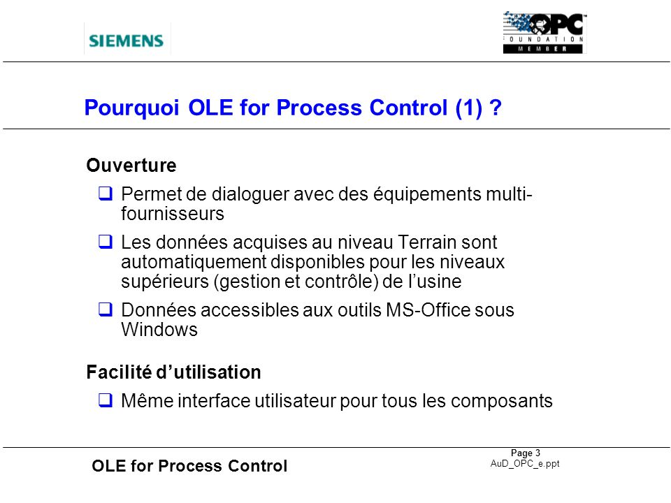Pourquoi OLE for Process Control (1)