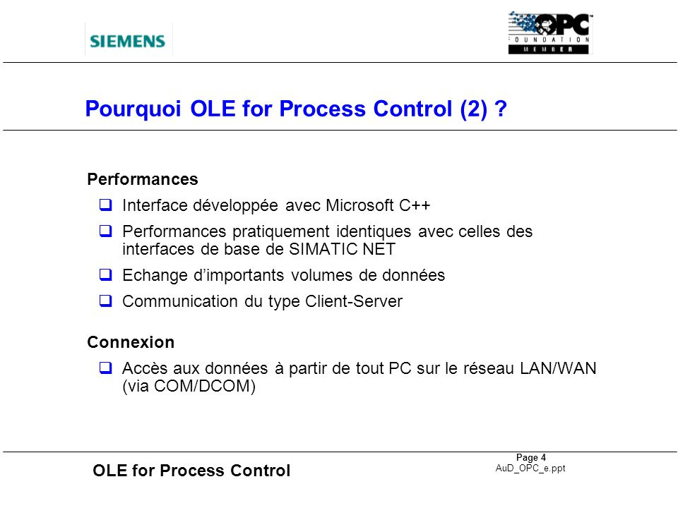 Pourquoi OLE for Process Control (2)