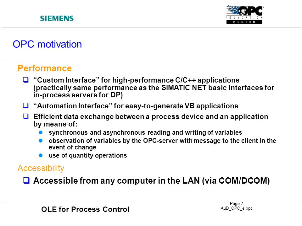 OPC motivation Performance Accessibility