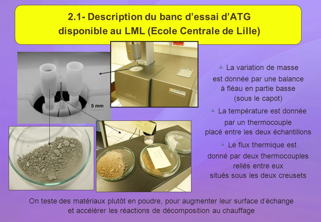 2.1- Description du banc d'essai d'ATG disponible au LML (Ecole Centrale de Lille)