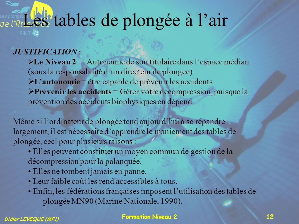 Les tables de plongée à l'air