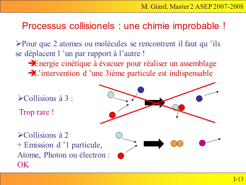 Processus collisionels : une chimie improbable !