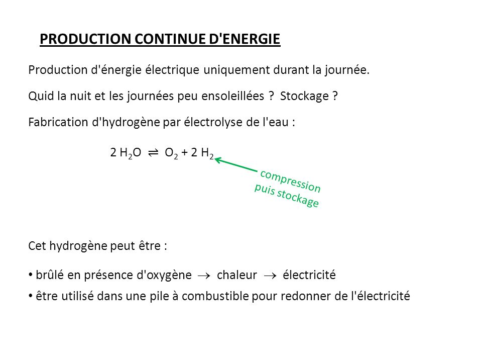 PRODUCTION CONTINUE D ENERGIE