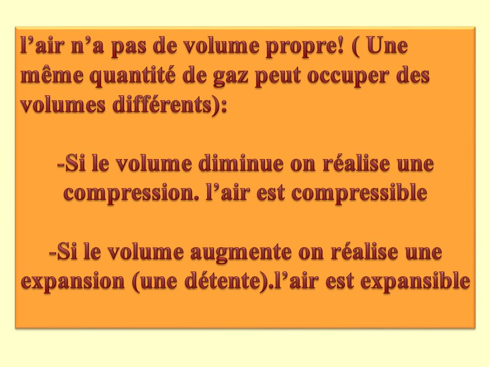 l'air n'a pas de volume propre