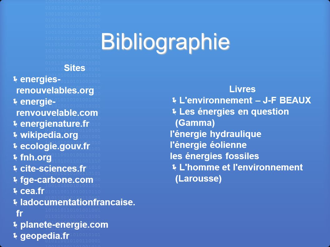 Bibliographie Sites energies-renouvelables.org