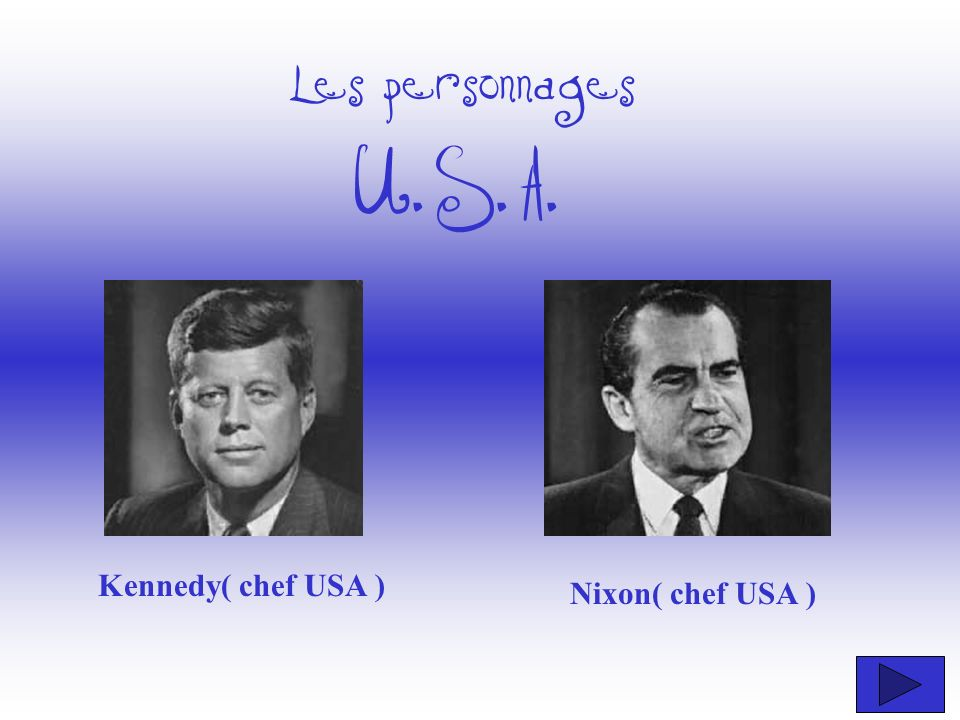 Les personnages U.S.A. Kennedy( chef USA ) Nixon( chef USA )