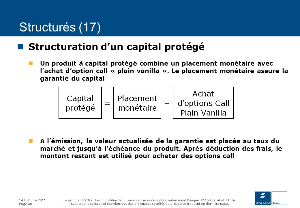 Structurés (17) Structuration d'un capital protégé