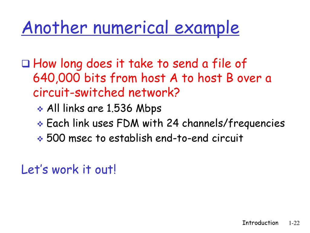 how long does it take a letter to arrive how does it take to deliver a letter protocoles et se 10312 | Numerical example How long does it take to send a file of 640%2C000 bits from host A to host B over a circuit switched network