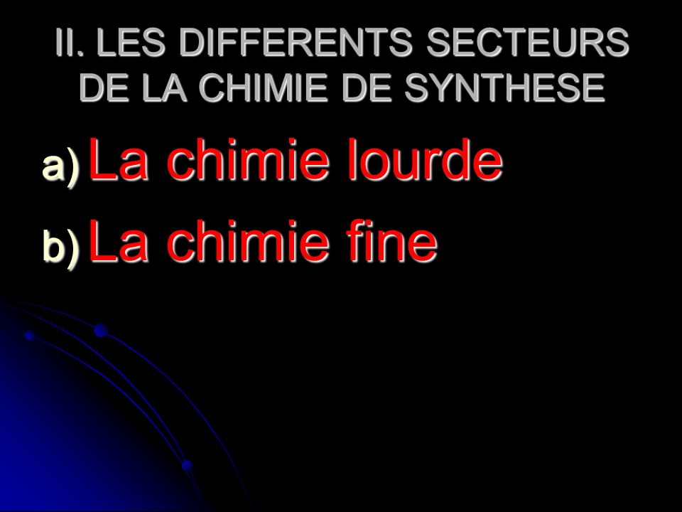 II. LES DIFFERENTS SECTEURS DE LA CHIMIE DE SYNTHESE
