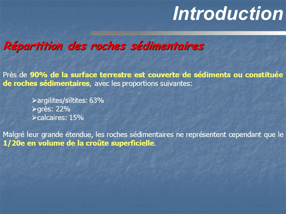 Introduction Répartition des roches sédimentaires