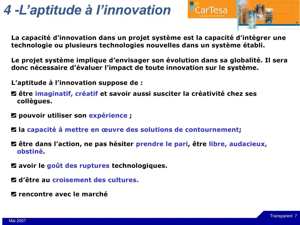 4 -L'aptitude à l'innovation