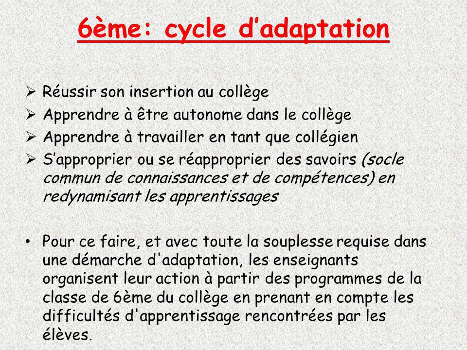 6ème: cycle d'adaptation