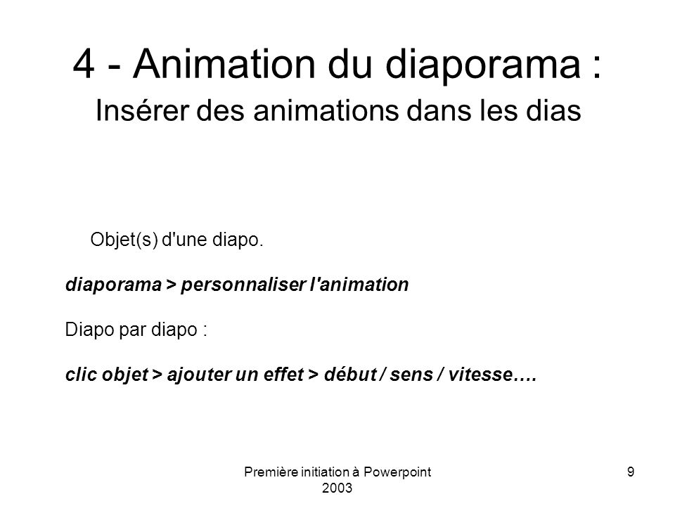4 - Animation du diaporama :
