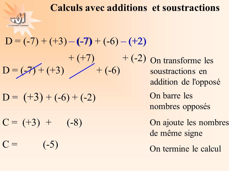 Calculs avec additions et soustractions
