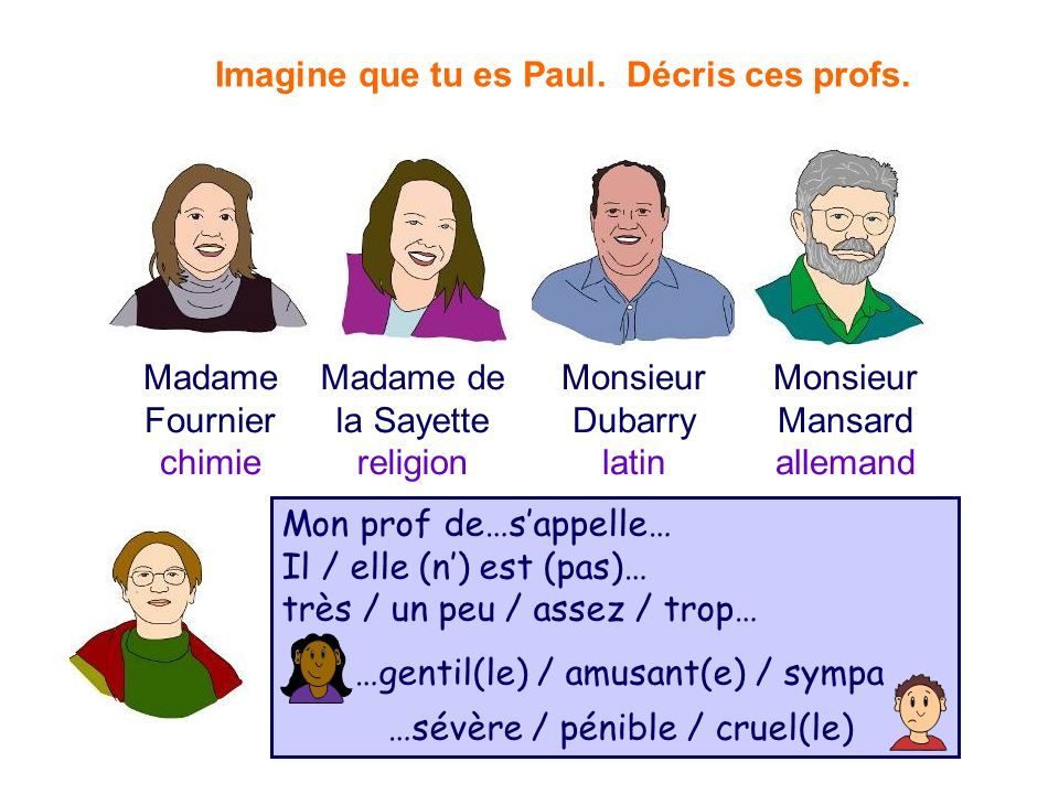Imagine que tu es Paul. Décris ces profs.