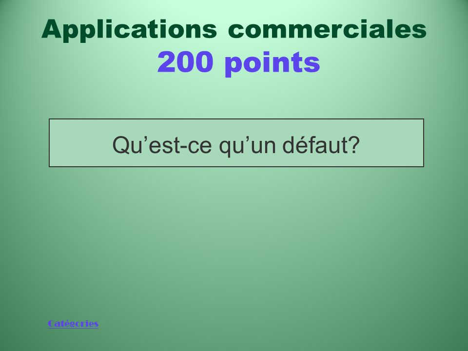 Applications commerciales 200 points