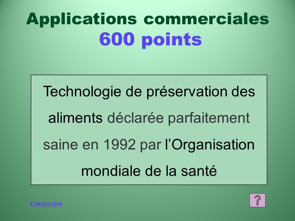 Applications commerciales 600 points