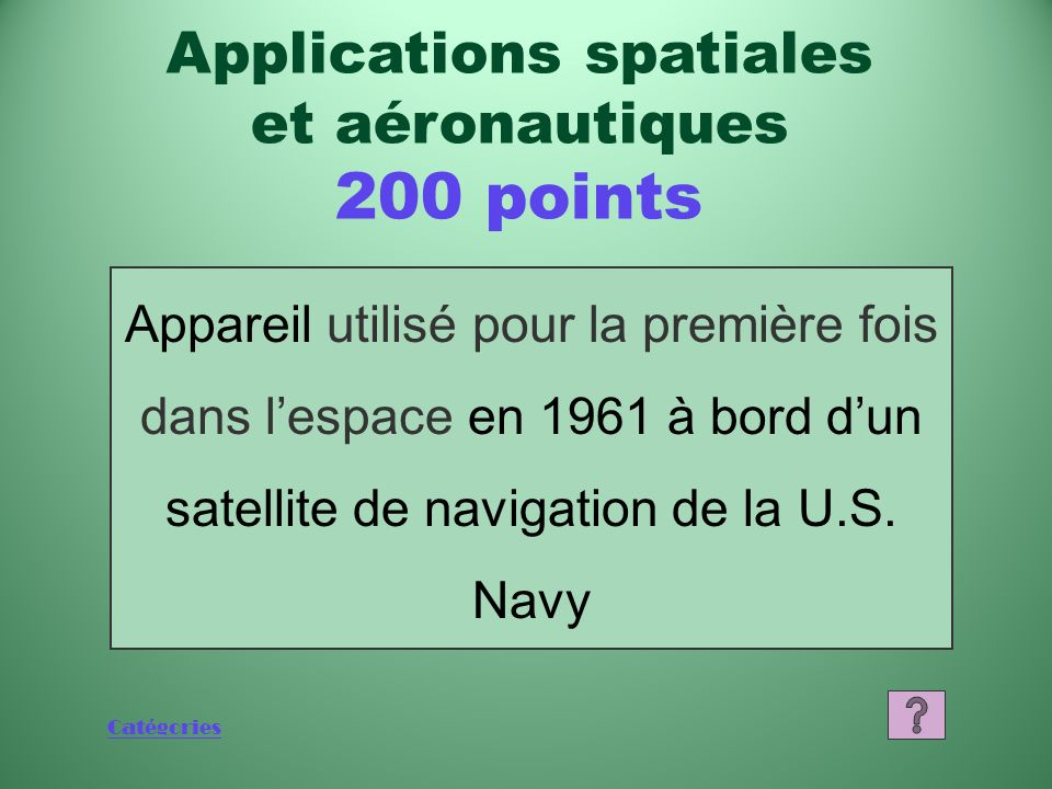 Applications spatiales
