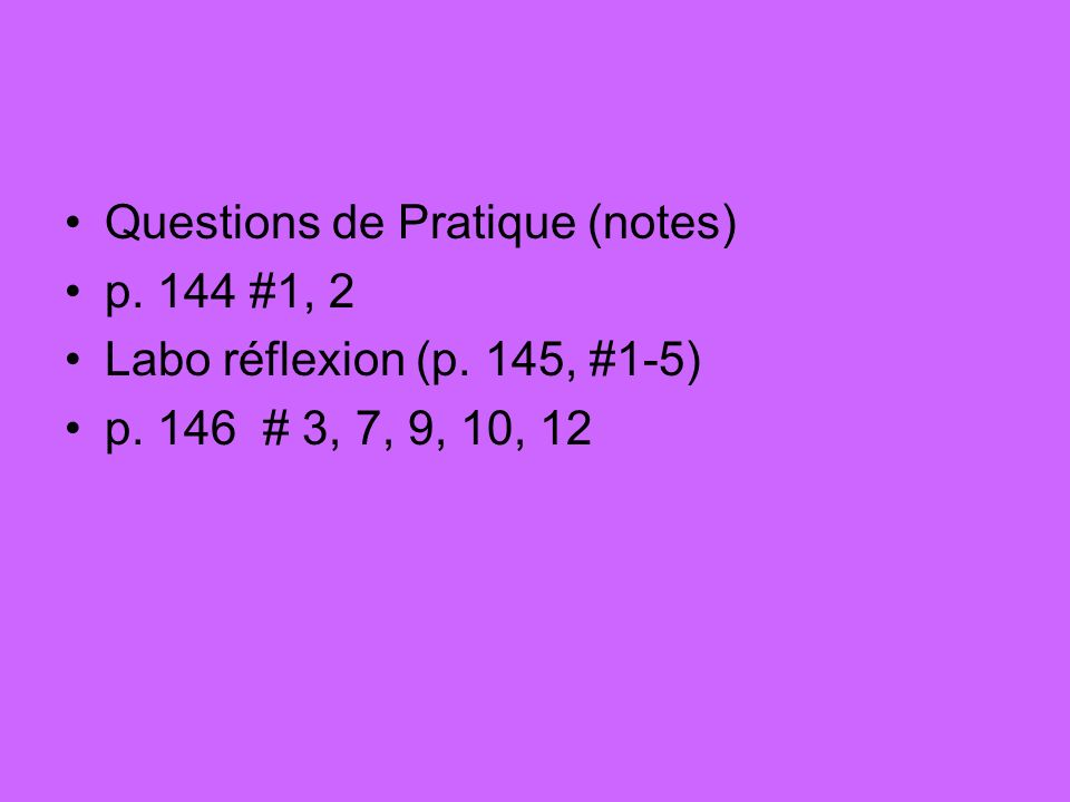 Questions de Pratique (notes)