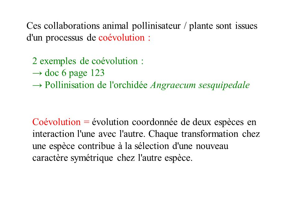 Ces collaborations animal pollinisateur / plante sont issues d un processus de coévolution :