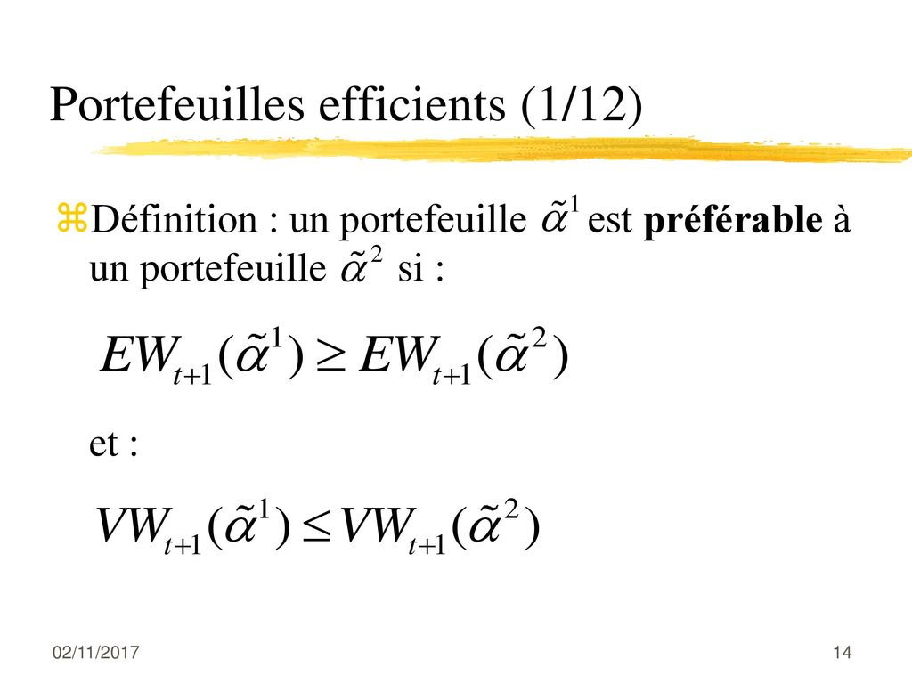 Portefeuilles efficients (1/12)